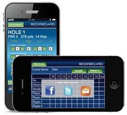 Smartphone app showing scorecard sharing