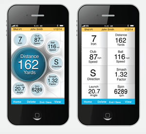 Smartphone app showing scorecard sharing