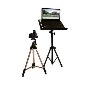 Laptop and camera and tripod