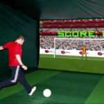 Footballer shooting in football simulator