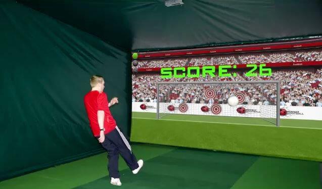 Footballer shooting in football simulator
