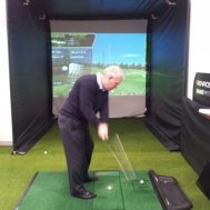 Golfer and Optishot Golf Simulator