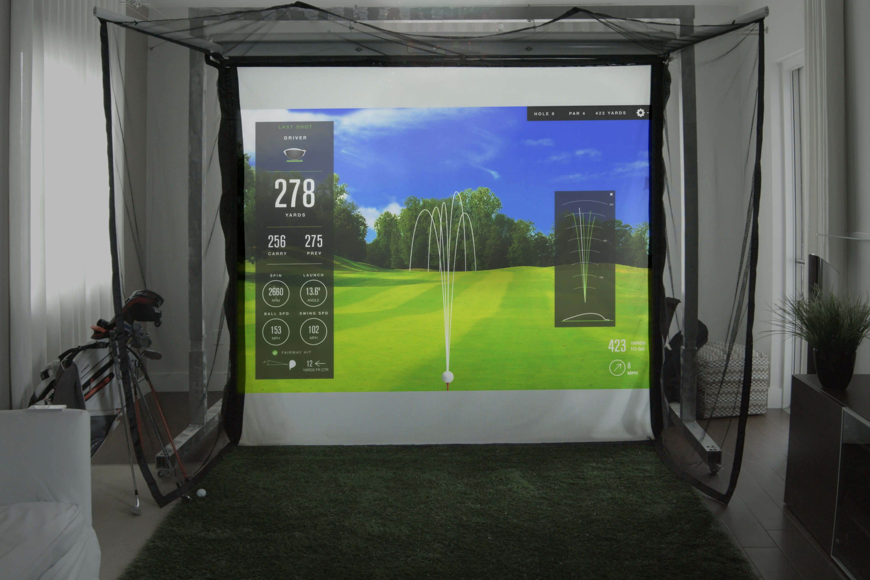 Homecourse Retractable Pro Screen Golf Swing Systems