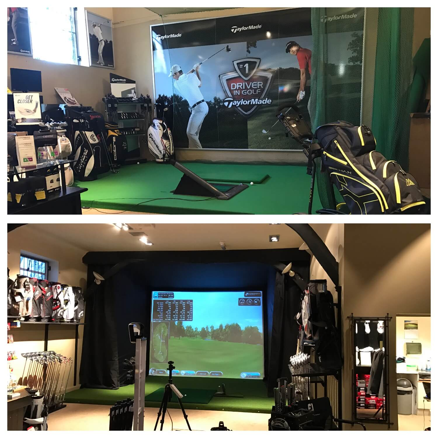 Golf Simulator enclosure and Artificial Turf and Pro Mat